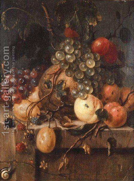 Bunches of grapes, raspberries, plums, a melon, peaches and apricots with a snail on a ledge by Jan van Doornik - Reproduction Oil Painting