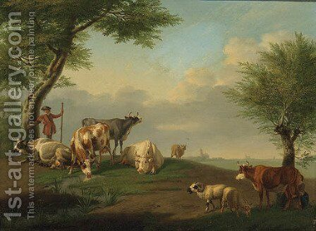 A Herdsman and Cattle with a Milkmaid in a River Landscape by Jan van Gool - Reproduction Oil Painting