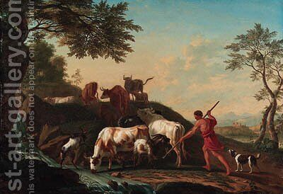 A herdsman with cattle and goats by a stream by Jan van Gool - Reproduction Oil Painting