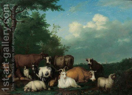 A shepherd with sheep, goats and cows in a meadow at the edge of a wood by Jan van Gool - Reproduction Oil Painting