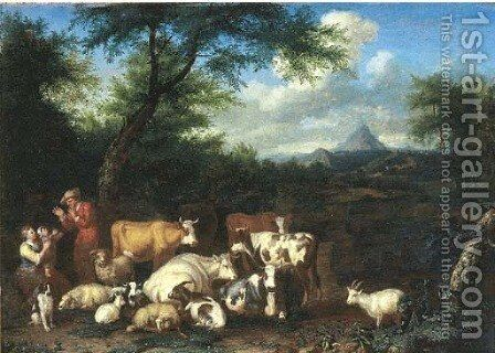 A wooded landscape with a herdsman and shepherdess resting with their flocks by Jan van Gool - Reproduction Oil Painting