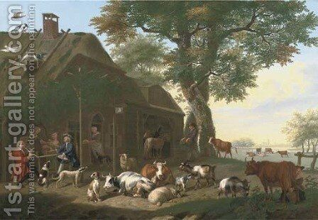 An elegant company by a tavern, with cows, sheep, goats and other animals by Jan van Gool - Reproduction Oil Painting