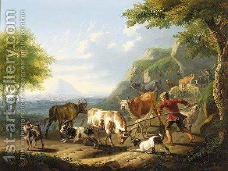An Italianate landscape with a herdsman and his dog restraining a bull by Jan van Gool - Reproduction Oil Painting