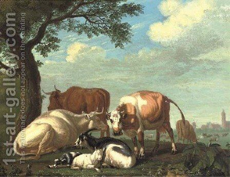 Cows and goats resting by a tree, a village beyond by Jan van Gool - Reproduction Oil Painting