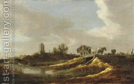 A river landscape with figures in a horse-drawn cart crossing a bridge, a village with a church beyond by Jan van Goyen - Reproduction Oil Painting