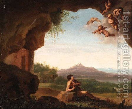 Saint John the Baptist in the Wilderness with Cherubs above by Jan Van Hanesbergen - Reproduction Oil Painting