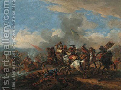 A battle between Christians and Turks by Jan von Huchtenburgh - Reproduction Oil Painting