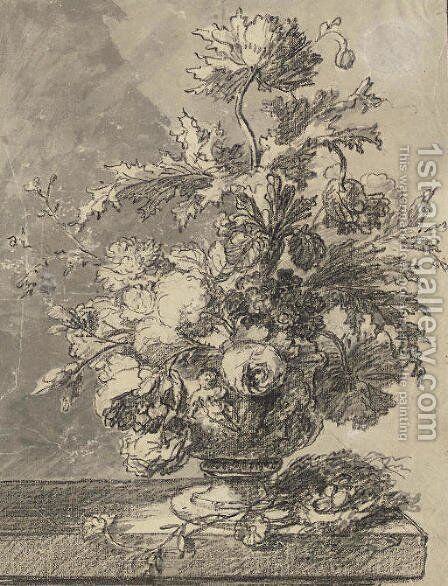 A bouquet of flowers in a terracotta vase by Jan Van Huysum - Reproduction Oil Painting