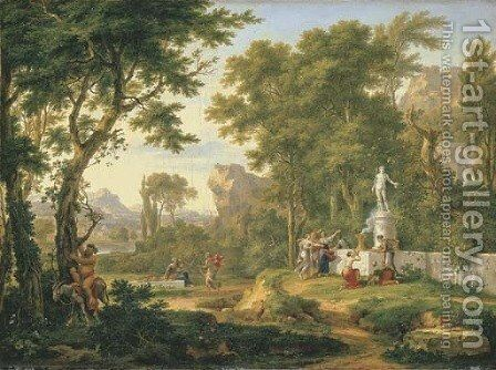 A classical landscape with the Worship of Bacchus 2 by Jan Van Huysum - Reproduction Oil Painting