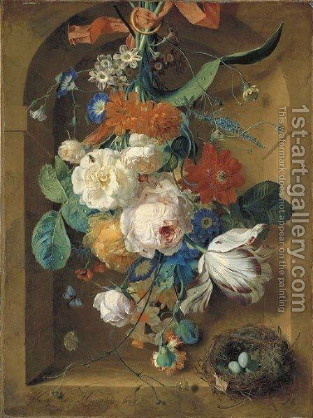 A festoon of flowers hanging from a red ribbon in a stone niche with a bird's nest by Jan Van Huysum - Reproduction Oil Painting