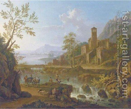 An Italianate river landscape with a muleteer and anglers, a hilltop town beyond by Jan Van Huysum - Reproduction Oil Painting