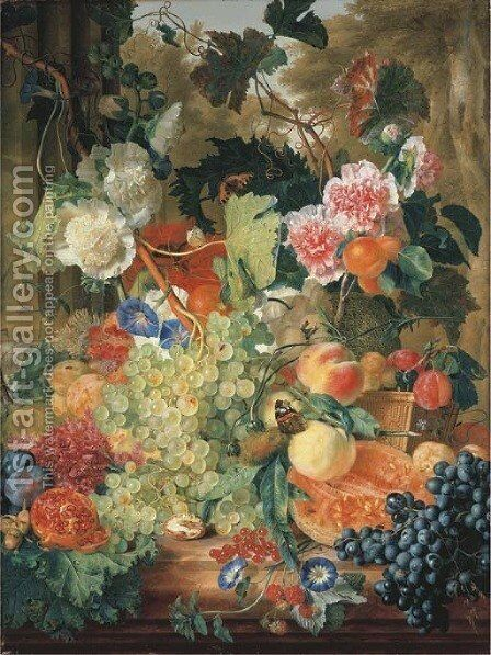 Green grapes on the vine with morning glory, pink and white hollyhocks, a red opium poppy, a walnut, hazelnuts, a split melon, a pomegranate by Jan Van Huysum - Reproduction Oil Painting