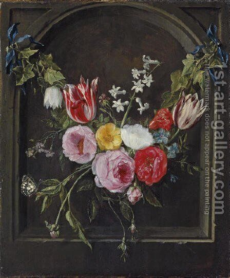 A swag of flowers hanging in a niche by Jan van Kessel - Reproduction Oil Painting