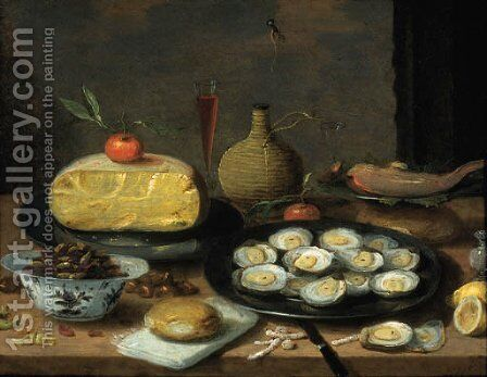 A breakfast still life of oysters on a pewter plate, a half cheese, bread, hazelnuts, chestnuts, lemons, mandarins, a fish, a pepper pot by Jan van Kessel - Reproduction Oil Painting
