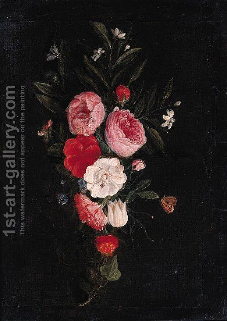 A swag of roses, carnations and other flowers - a fragment by Jan van Kessel - Reproduction Oil Painting