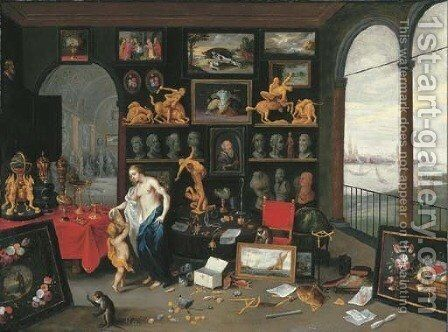 An Allegory of Sight a collector's cabinet, a view of Antwerp beyond by Jan van Kessel - Reproduction Oil Painting