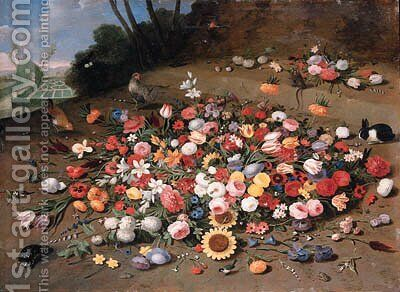 Parrot tulips, roses, sunflowers, lilies, dahlias, poppies, cornflowers, narcissi, daffodils, irises and other flowers, with chickens, a tortoise by Jan van Kessel - Reproduction Oil Painting
