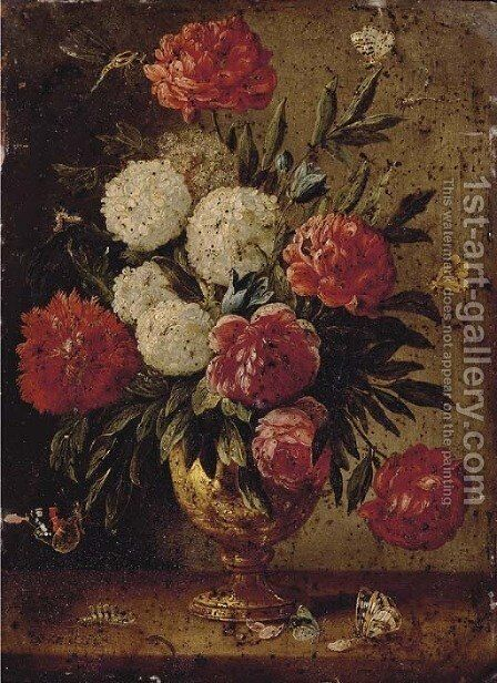 Roses, carnations, morning-glory and other flowers with ants in a gold sculpted urn, with a caterpillar and butterflies on a wooden ledge by Jan van Kessel - Reproduction Oil Painting