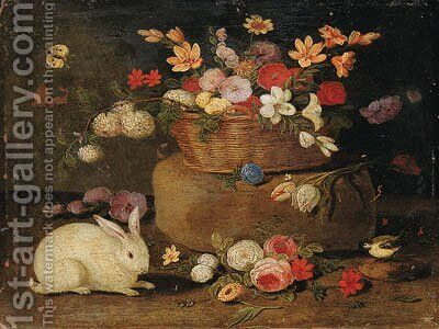 Roses, dahlias, paeonies, tulips and other flowers in a basket on a stone seat, with a white rabbit, a great tit and a butterfly by Jan van Kessel - Reproduction Oil Painting