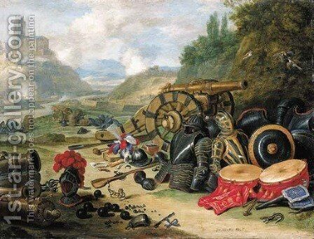 Weapons and accoutrements of war in a battlefield, a river and a church on a hill beyond by Jan van Kessel - Reproduction Oil Painting