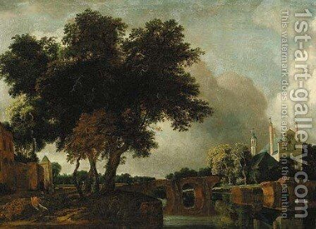 A wooded river landscape with a stone bridge, a church beyond by Jan Van Kessel III - Reproduction Oil Painting