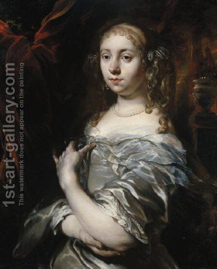 Portrait of a lady, half-length, wearing pearls and a grey satin gown with a blue shawl, an ornamental garden beyond by Jan or Joan van Noordt - Reproduction Oil Painting