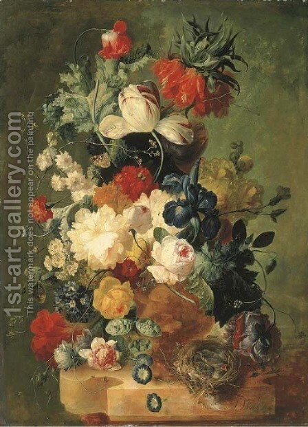 Pink and yellow roses, peonies, an iris, tulips, primulas, hyacinths, a poppy, a coxcomb, fritillaries and other flowers in a sculpted urn with a bird by Jan van Os - Reproduction Oil Painting