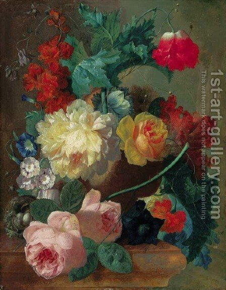 Roses, a poppy, bougainvillea, peonies, morning glory, primulas and a coxcomb in a terracotta vase with a bird's nest on a marble ledge by Jan van Os - Reproduction Oil Painting
