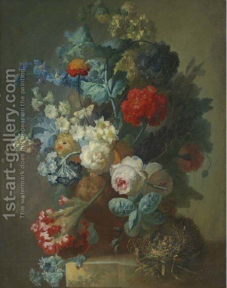 Roses, cineria, cockscombe, auricula, hops, hollyhocks, narcissi, helichrysum, geum and a carnation in a sculpted vase with chicks in a nest by Jan van Os - Reproduction Oil Painting