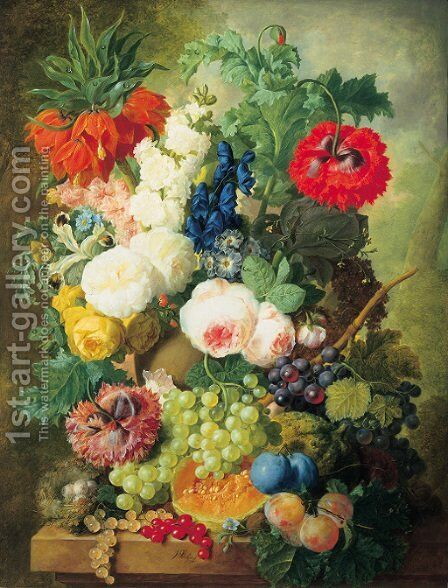 Roses, poppies, a crown imperial lily and other flowers in a terracotta vase, with grapes, plums, a melon and a birds' nest on a stone ledge by Jan van Os - Reproduction Oil Painting