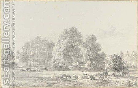 A wooded landscape with cattle and sheep in a meadow near a farmhouse by Jan Van Ravenswaay - Reproduction Oil Painting