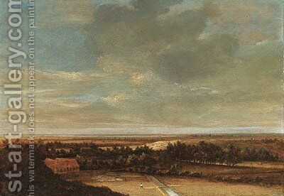 An extensive dune landscape with a farmhouse and a bleaching ground by Jan the Elder Vermeer van Haarlem - Reproduction Oil Painting