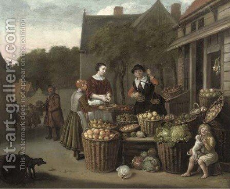 A woman and child purchasing fruit at a market by Jan Victors - Reproduction Oil Painting