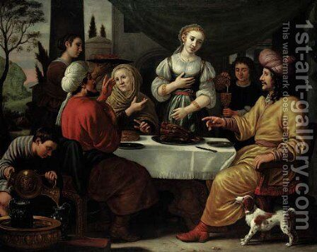 Eliezer at the House of Rebecca by Jan Victors - Reproduction Oil Painting