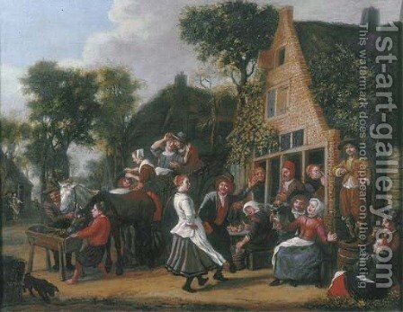 Peasants making merry and a wagon halting outside an inn by Jan Victors - Reproduction Oil Painting
