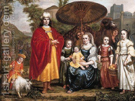 Portrait historie of a family in a landscape a gentleman, standing small full length and his wife, seated small full length by Jan Victors - Reproduction Oil Painting