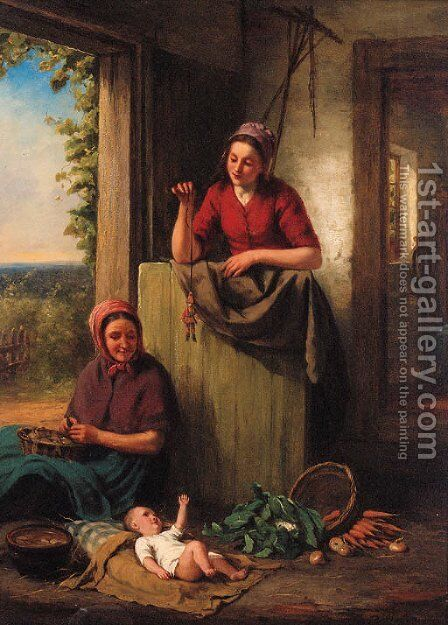 Teaching Baby by Jan Walraven - Reproduction Oil Painting