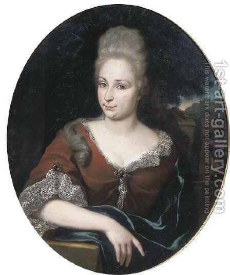Portrait of a lady, half-length, in a red dress and lace chemise, a park beyond by Jan Weenix - Reproduction Oil Painting