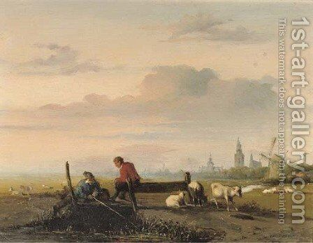 Fishing on a lazy afternoon by Jan Weissenbruch - Reproduction Oil Painting