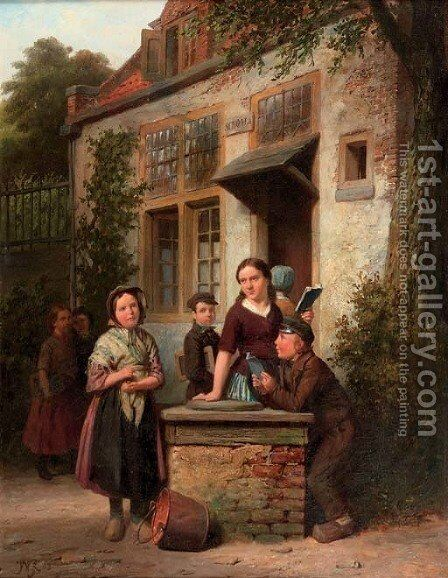 In the schoolyard by Jan Wendel Gerstenhauer Zimmermann - Reproduction Oil Painting