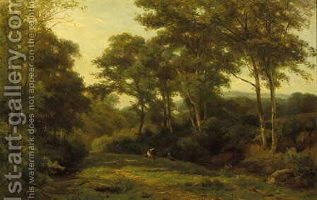 A cow grazing in a forest clearing by Jan Willem Van Borselen - Reproduction Oil Painting