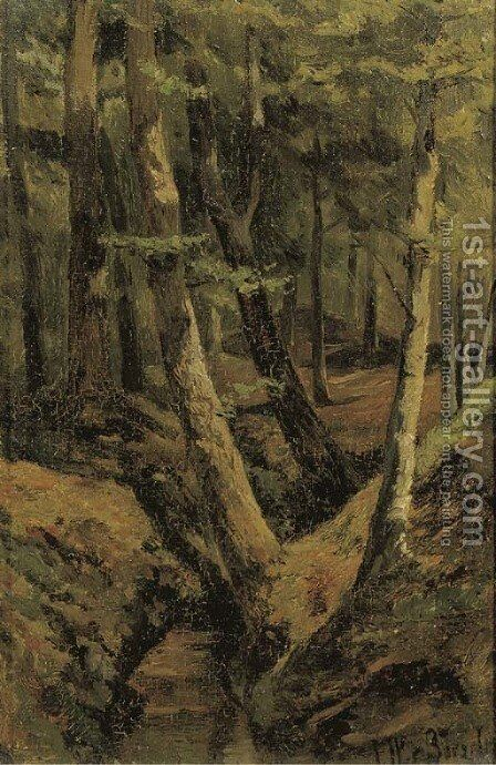 The forest stream by Jan Willem Van Borselen - Reproduction Oil Painting
