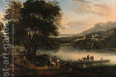 A river landscape with an elegant couple on horseback by a ferry, a fortress and town beyond by Jan Wyck - Reproduction Oil Painting