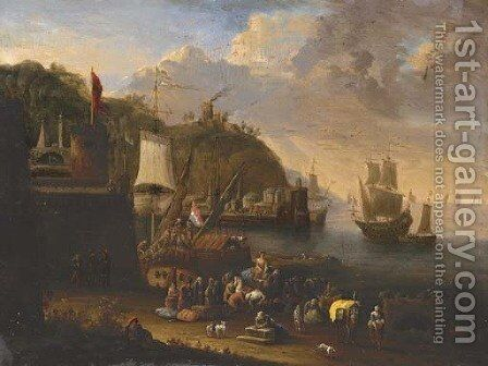 A port scene with figures unloading and shipping beyond by Jan Baptist van der Meiren - Reproduction Oil Painting