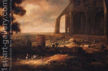 Nimrod overseeing the building of the Tower of Babel by Jan-Christiansz. Micker - Reproduction Oil Painting
