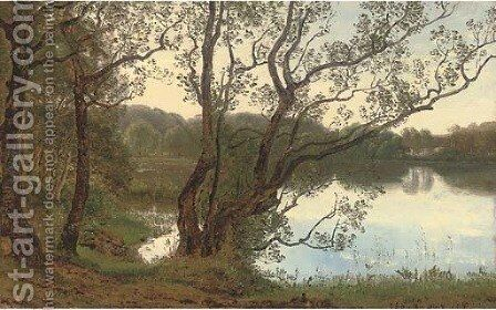 The lake at dusk by Janus Andreas Bartholin La Cour - Reproduction Oil Painting