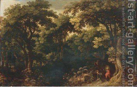 A wooded landscape with Christ tempted by the Devil by Jasper van der Lanen - Reproduction Oil Painting
