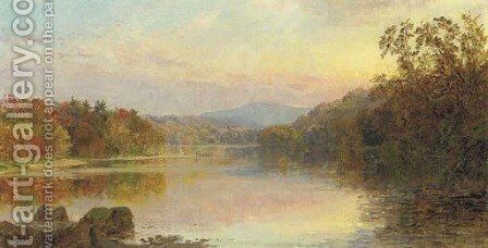 The Campfire by Jasper Francis Cropsey - Reproduction Oil Painting
