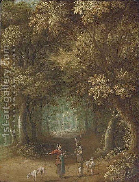 A wooded landscape with travellers on a path by Jasper van der Lanen - Reproduction Oil Painting