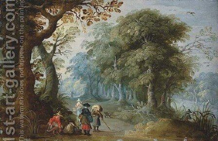 A wooded landscape with travellers on a track by Jasper van der Lanen - Reproduction Oil Painting